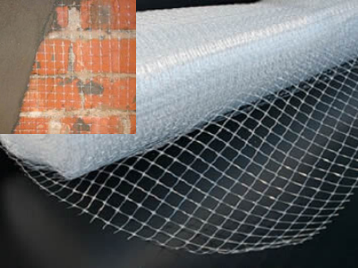 Plastic mesh used to plastering to brick wall