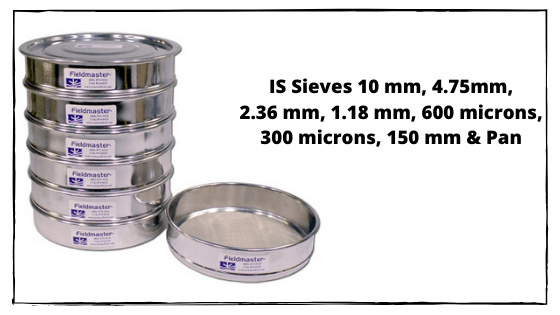 IS Sieves 10 mm, 4.75mm, 2.36 mm, 1.18 mm, 600 microns, 300 microns, 150 mm & Pan