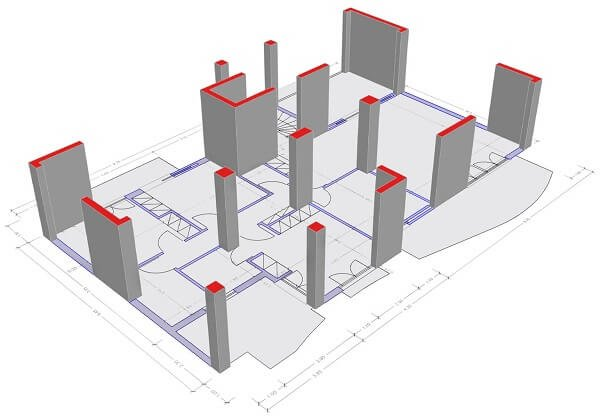 Column supported shear walls.