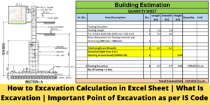 Excavation Calculation in Excel Sheet