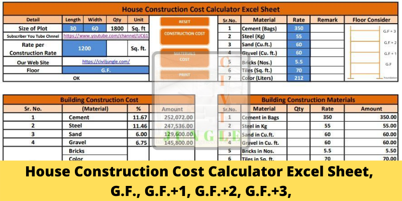 House Construction Cost Calculator Excel Sheet Floor