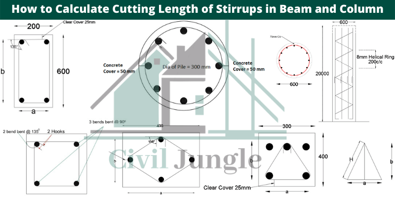 How to Calculate Cutting Length of Stirrups in Beam and Column