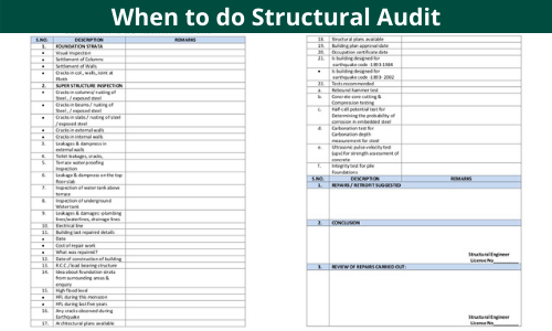 When to do Structural Audit